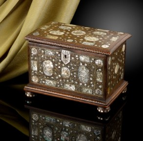 Antique walnut casket