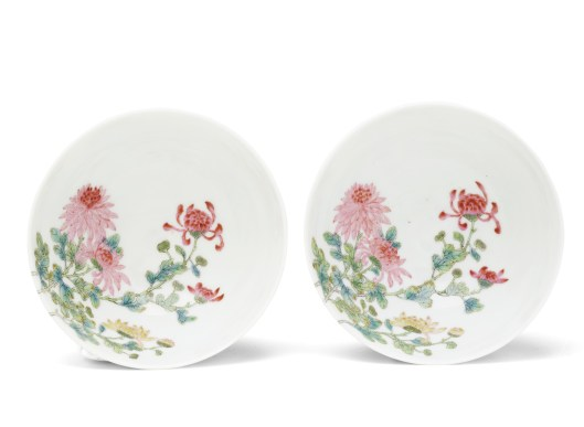 Interior of the pair of Yongzheng quail bowls to be sold in New York