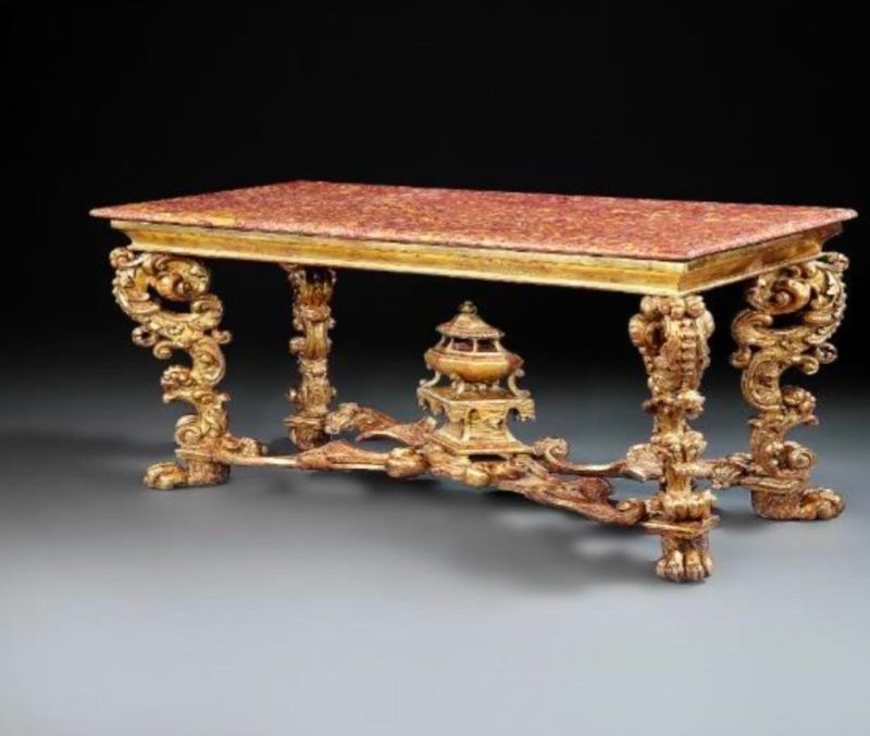 Italian Louis XIV gilt wood, marble topped centre table