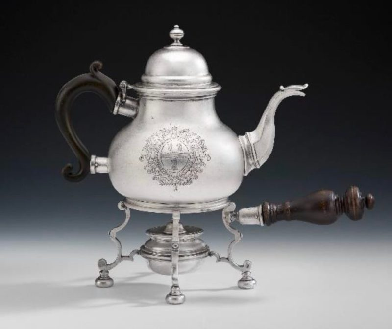 Queen Anne Britannia Standard Teapot and lampstand
