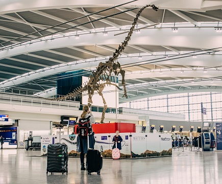 Dinosaur skeleton at Heathrow