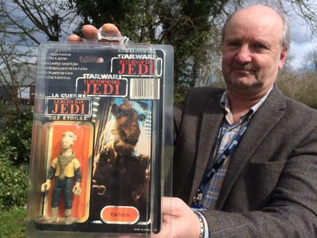 Toy valuer Steve Fulford with Star Wars toy Yak Face