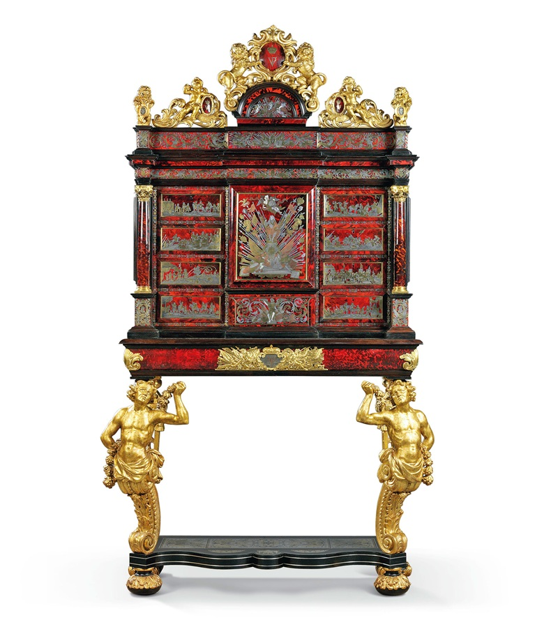 From the Rothschild family collection - a pair of royal flemish tortoiseshell brass pewter inlaid boulle marquetry and giltwood cabinets