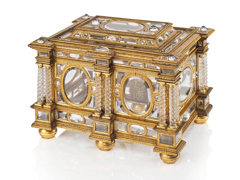 Rothschild family collection - A rectangular parcel-gilt, gilt-bronze and rock-crystal casket, Venetian, circa 1600