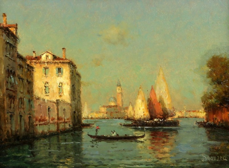 An oil painting of Venice by French landscape artist Antoine Bouvard