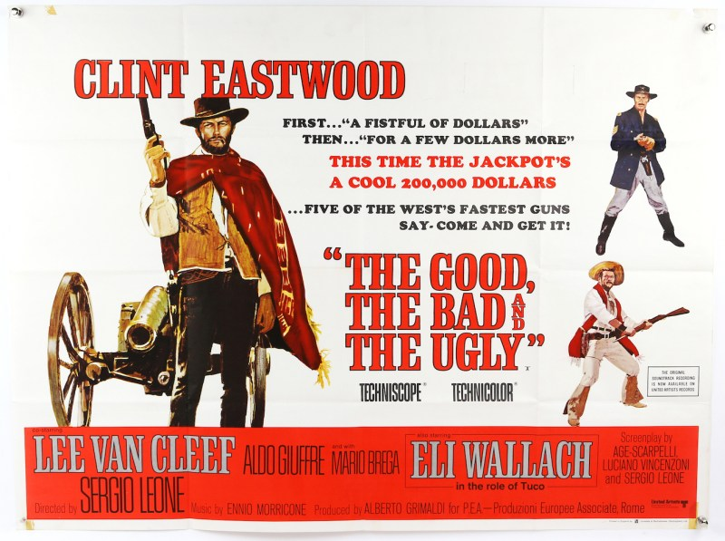 A vintage poster of The Good, The Bad and the Ugly starring Clint Eastwood