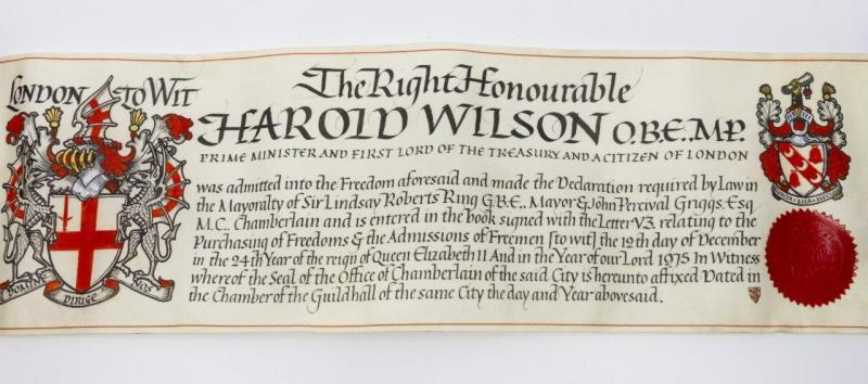 Freedom of the City of London, awarded to Harold Wilson