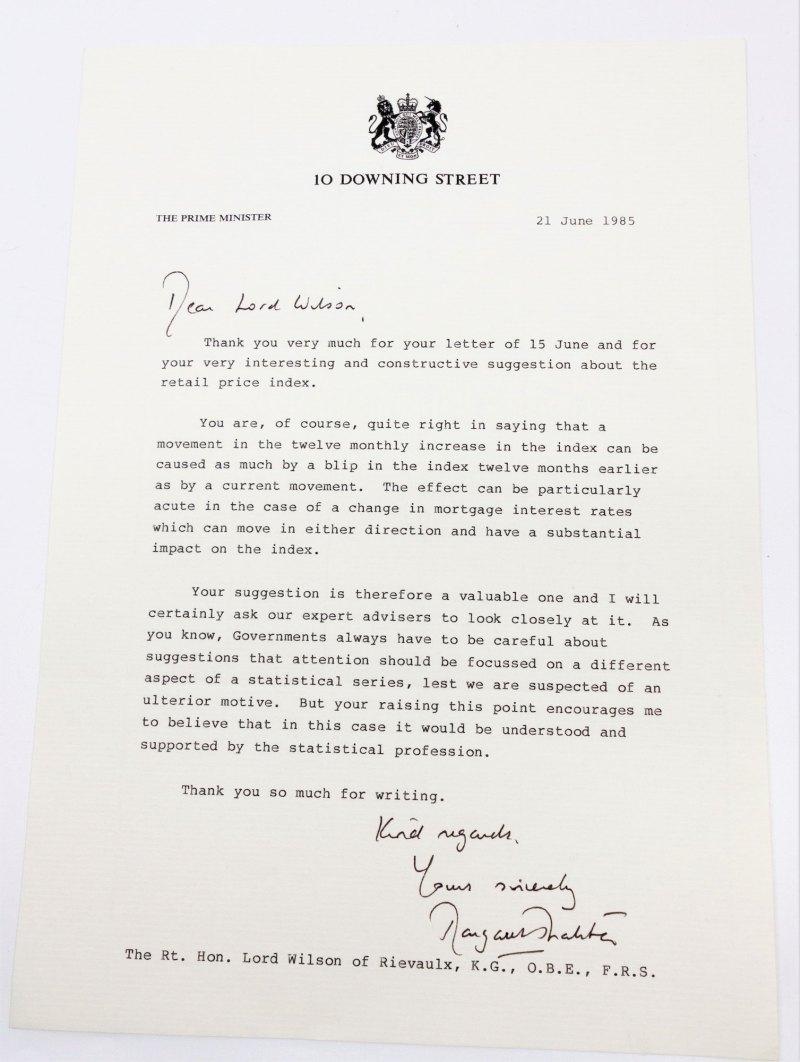 Margaret Thatcher letter to Harold Wilson