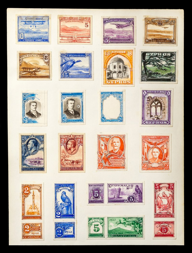 Various stamp designs including Cyprus