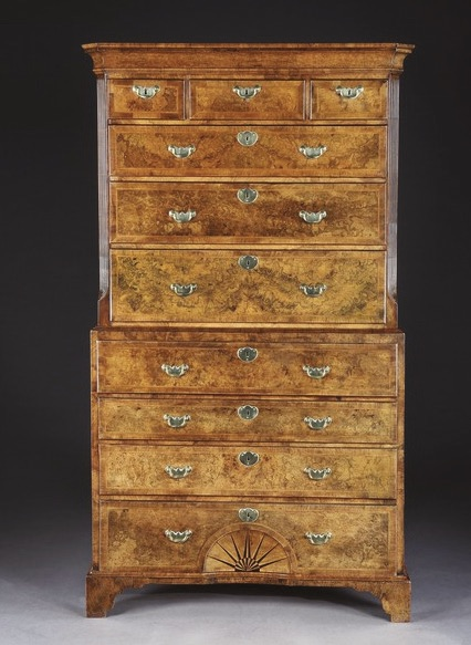 A George I burr walnut chest on chest, c. 1720