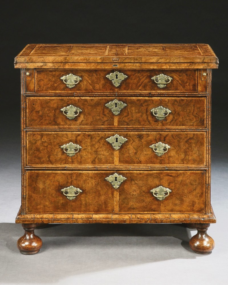 George I burr walnut bachelors chest