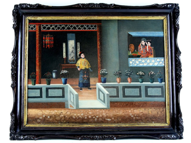 A Chinese export painting of a Manchu narrative scene which has been valued at between £1,500 and £2,000