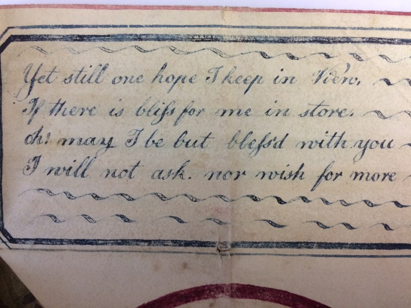 Inscription on the Victorian Valentine's day card