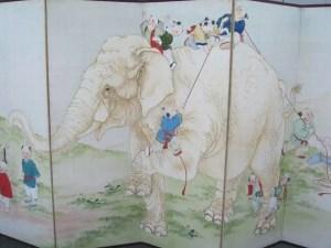 象と唐子図 紙本六曲屏風片双