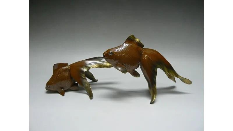 渡辺紫鳳作/銅製双金魚置物