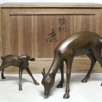 香取正彦作 鋳銅『鹿』置物
