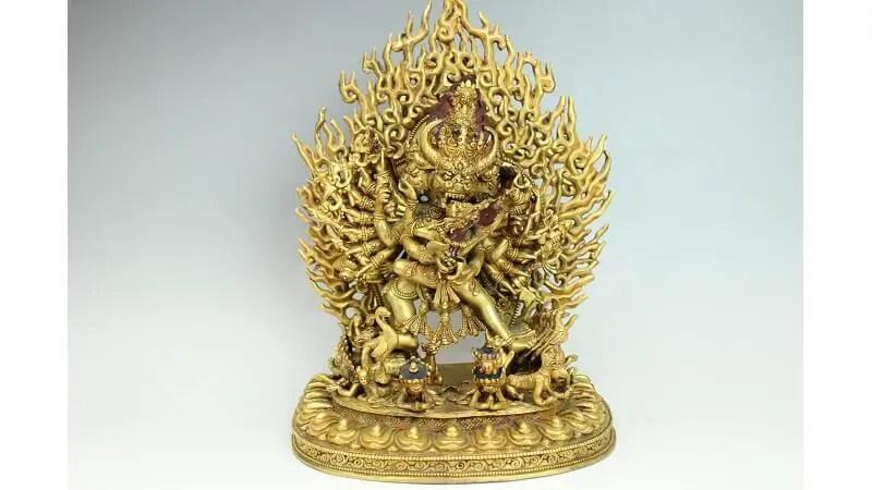 チベット鍍金仏・大威徳明王像