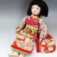 無銘 市松人形女の子 正絹着物 55cm