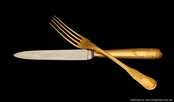 PUIFORCAT GOLD PLATED STERLING SILVER VERMEIL FLATWARE
