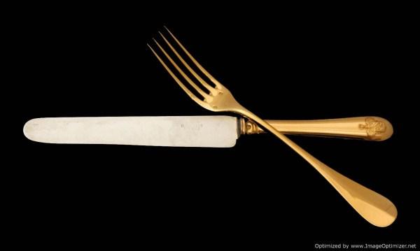 ODIOT VERMEIL GOLD PLATED STERLING SILVER FLATWARE SET