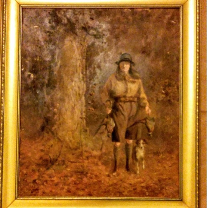 Signed 1919 English hunting scene painting by Crawford McFall . #brimfieldantiqueshow. #huntingscene art Both #188. May 10th @9am.MAY'S Field.