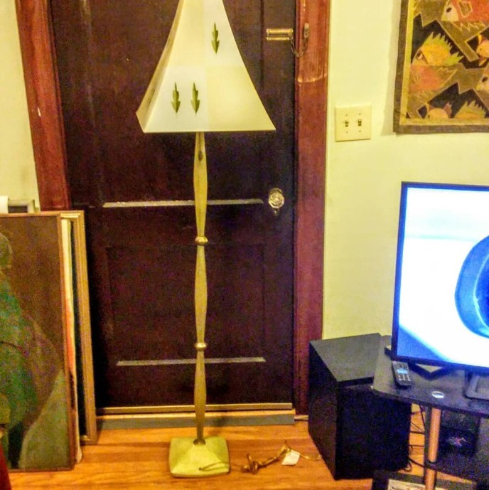 """Here is a great contemporary (1990's) floor lamp by the Altimira lamp company. These lamps are no longer made.The lamp is entirely hand built. The base is made from molded clay. The green sections are cast resin rods,then were machined to give a more geometric look. A total work of art, but functions as a lamp.They were featured on the sitcom show """"Friends"""""""