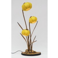 yellow rice paper table lamp with daffodil flower design ...