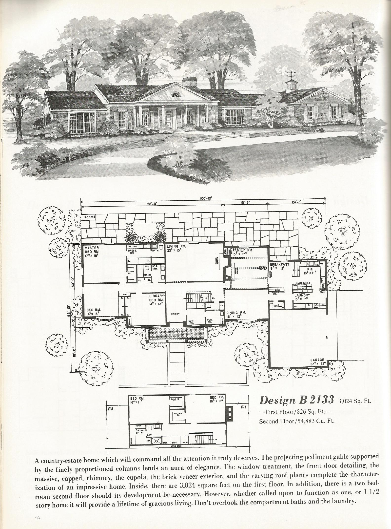 Vintage House Plans Luxurious Homes 2133