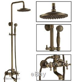 antique brass bathroom rain shower faucet set with tub spout wall mounted b150