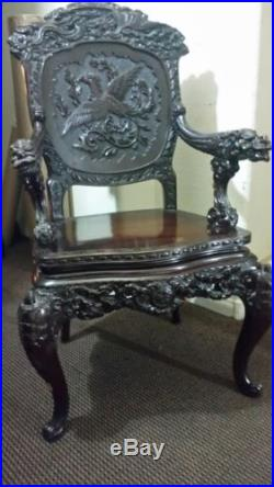 antique chinese dragon chair high back office leather 1850 s hand carved rosewood rare sale