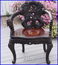 antique chinese dragon chair aluminum folding chaise lounge chairs carved wood dragons arm