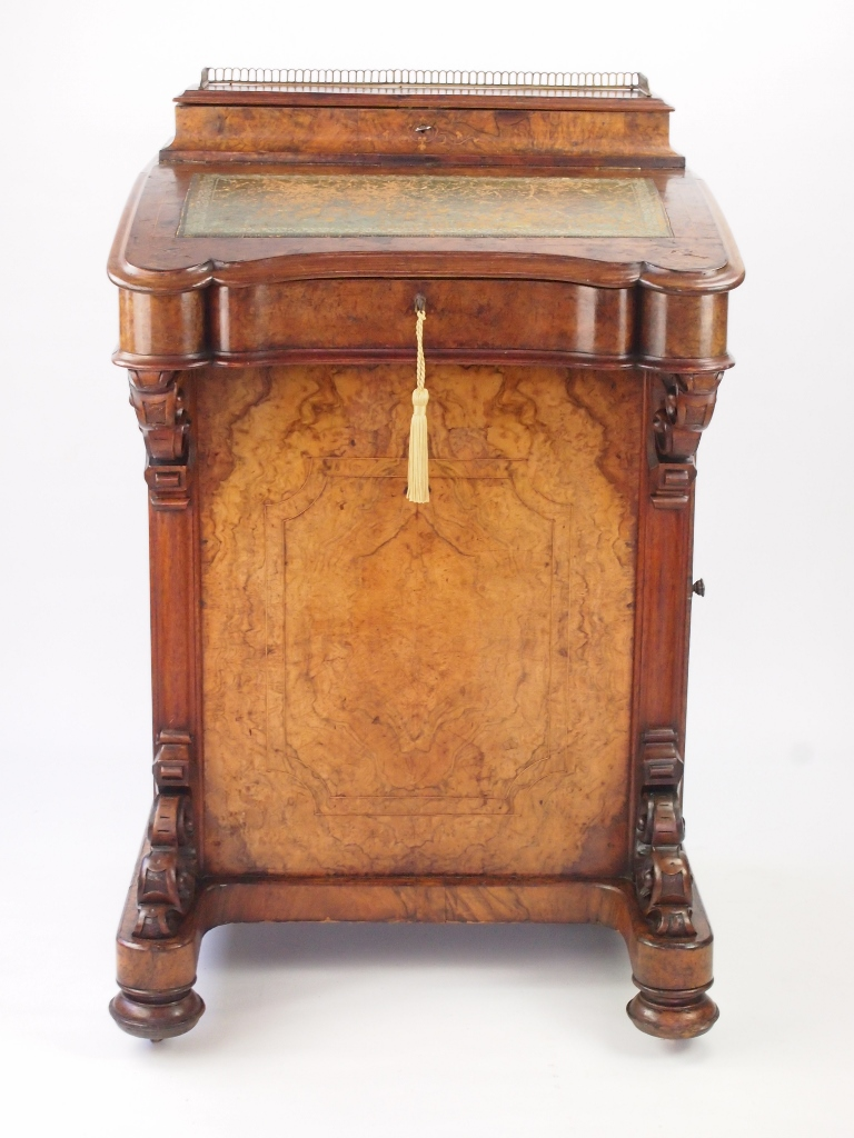 Antique Victorian Burr Walnut Davenport with Label