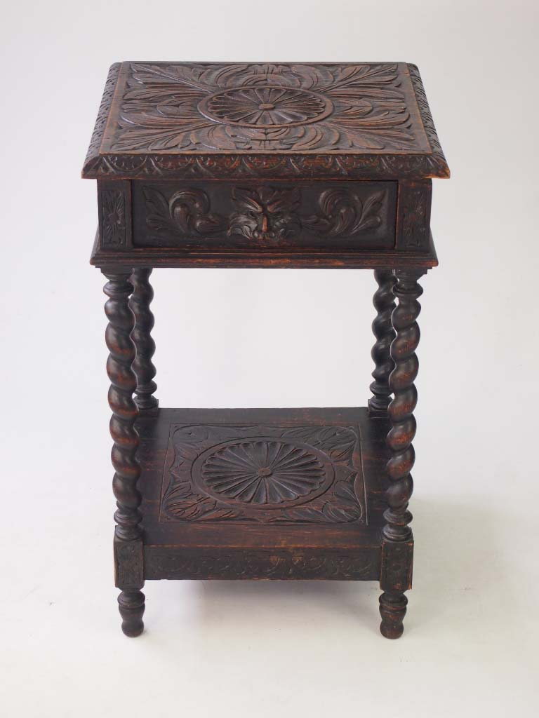 Small Victorian Gothic Revival Oak Side Table