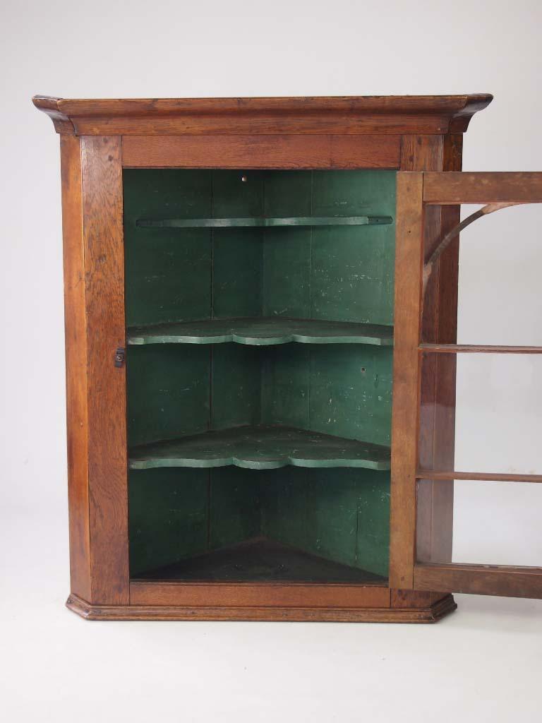 Antique Victorian Oak Corner Cupboard