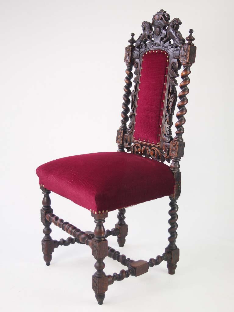 Pair Antique Victorian Gothic Oak Chairs