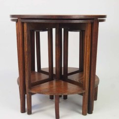 Round Card Table And Chairs Office Chair Cad Block Vintage Nest Of 5 Oak Tables