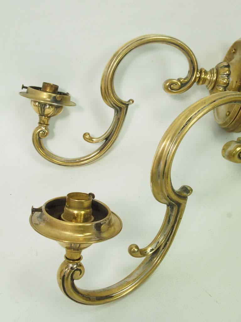 Pair Antique Brass Wall Lights  Sconces