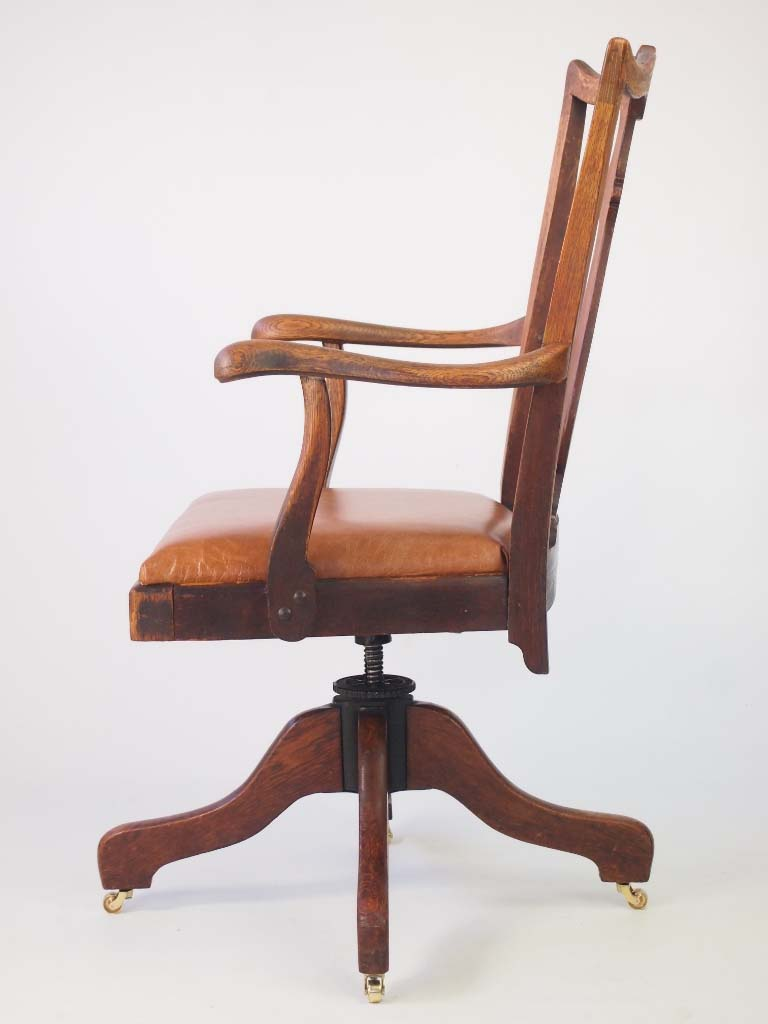 Oak and Leather Swivel Desk Chair by JS Ford Johnson
