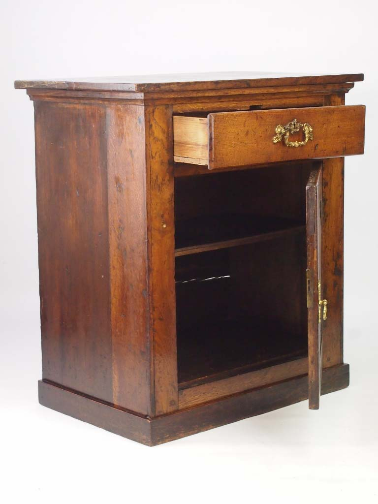 Oak Side Cabinet with Drawer