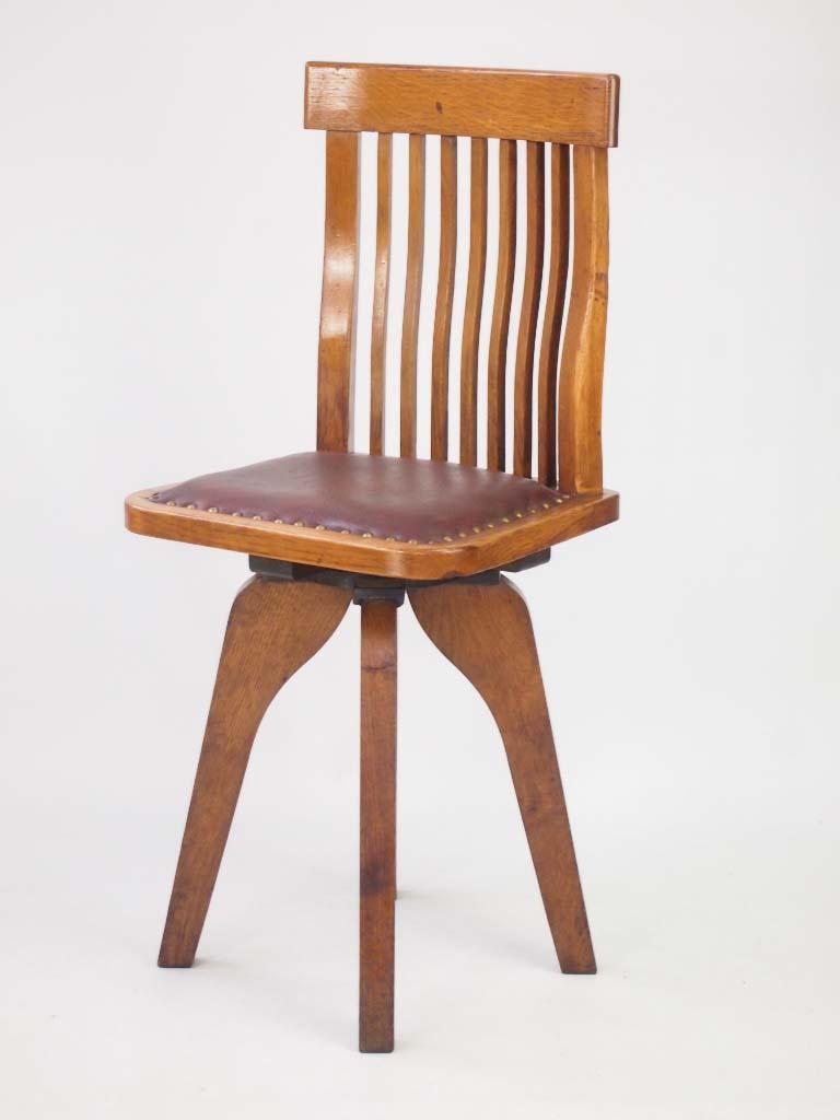 antique leather swivel desk chair genuine executive unusual small oak