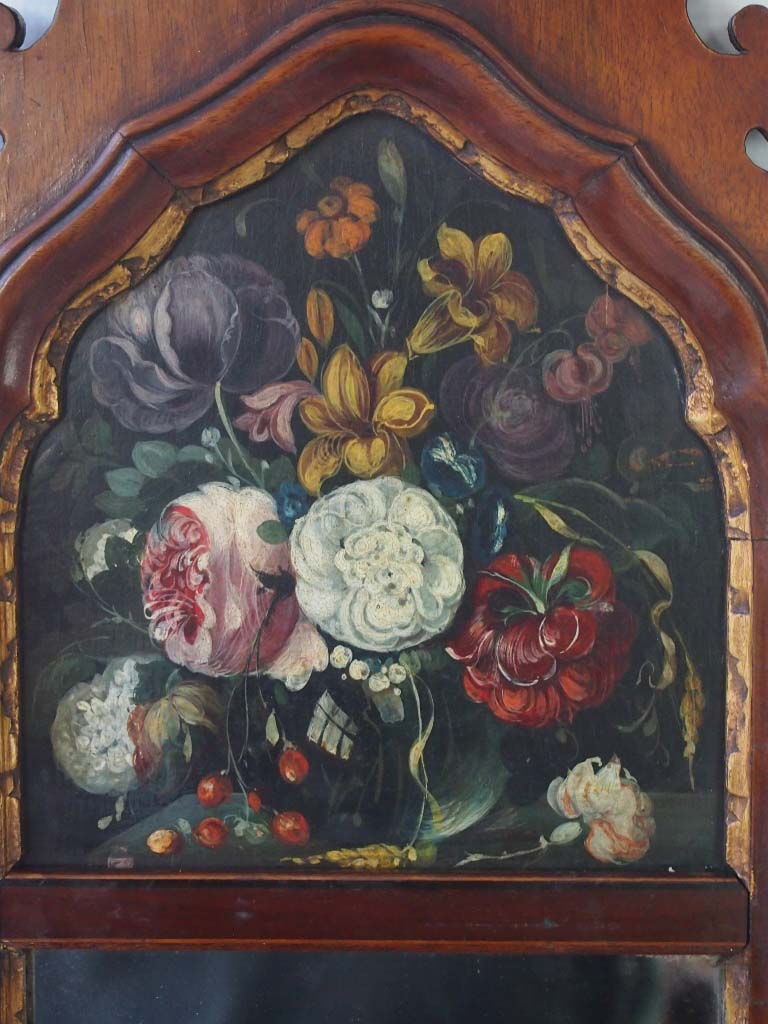 Antique Edwardian Floral Painted Fretwork Mirror