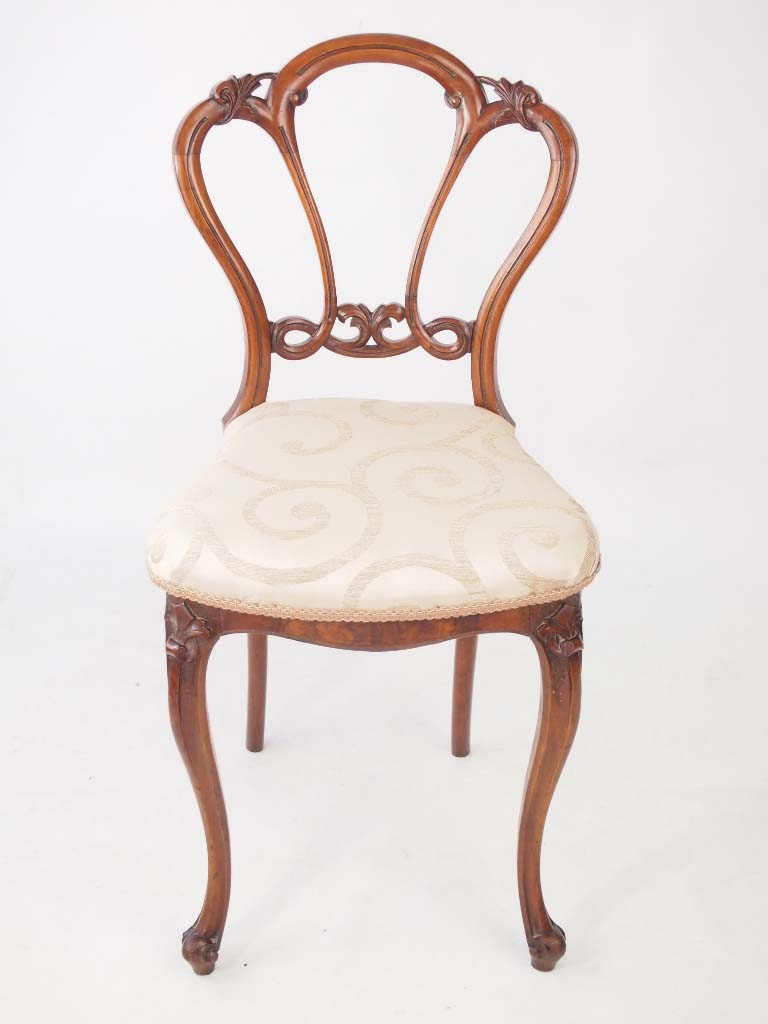 Small Antique Victorian Walnut Balloon Back Chair