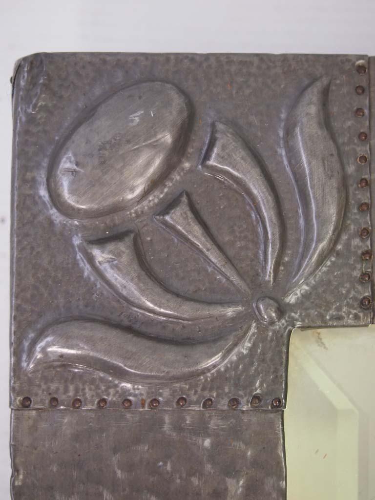 Antique Arts  Crafts Pewter Mirror