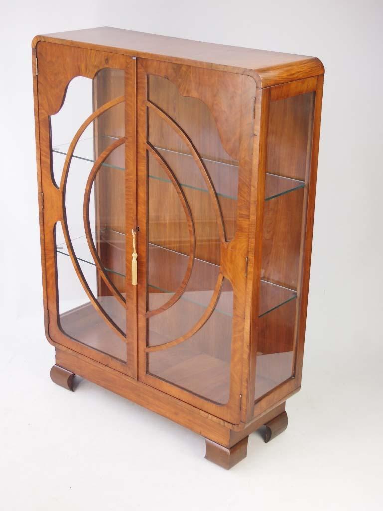 Small Art Deco Walnut Display Cabinet  Bookcase