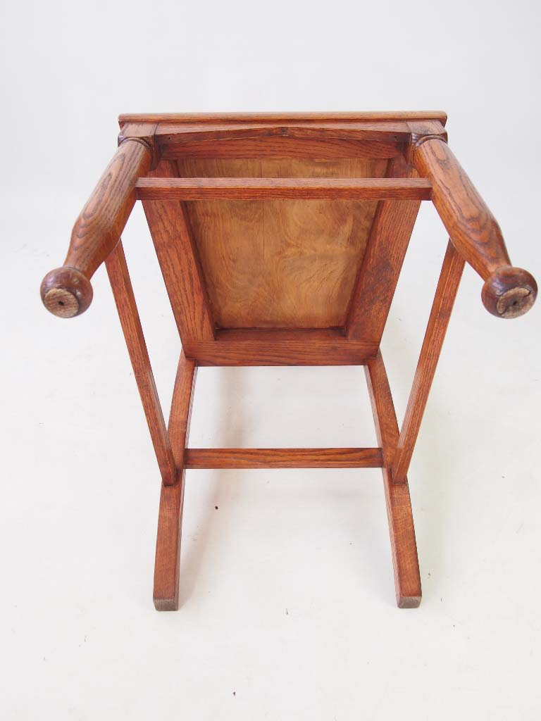 Set 4 Antique Arts  Crafts Oak Dining Chairs