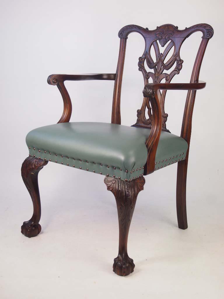 Antique Edwardian Mahogany Chippendale Desk Chair