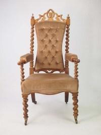 Antique Victorian Gothic Walnut Armchair