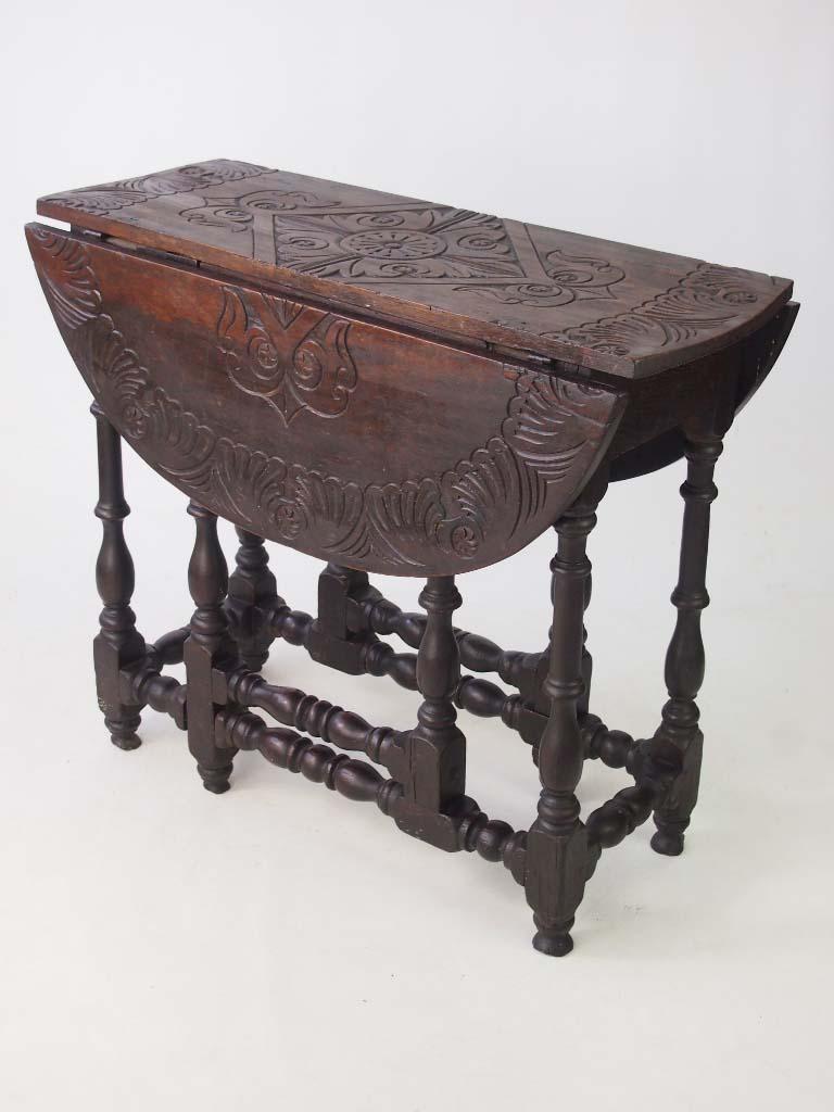 Antique Carved Oak Gateleg Table