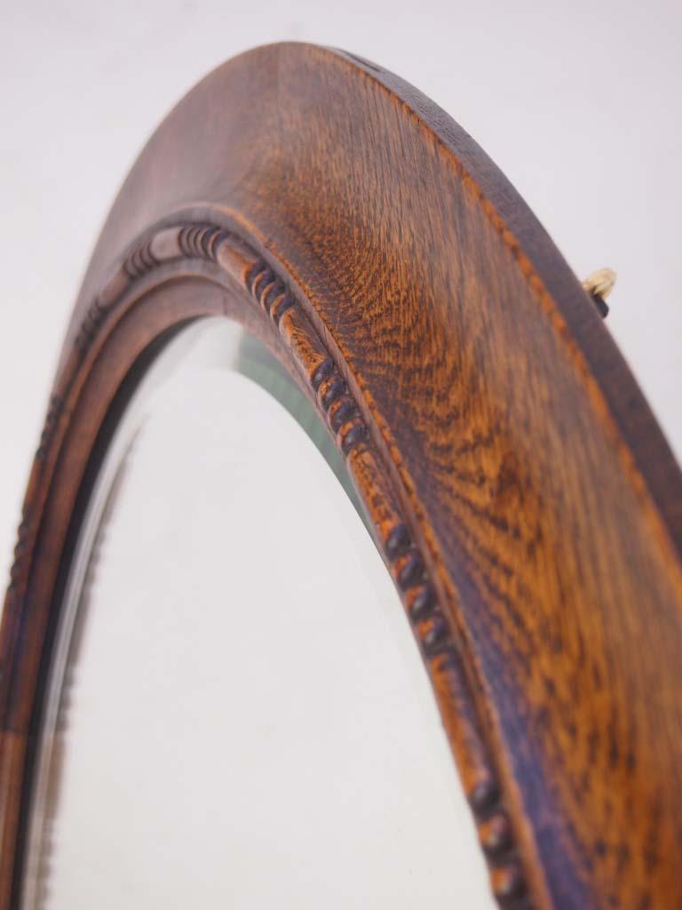 Edwardian Oak Framed Oval Mirror