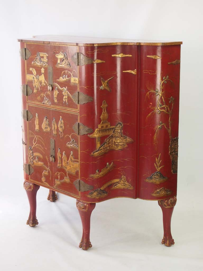 Red Lacquered Chinoiserie Side Cabinet
